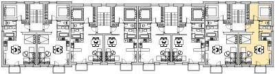 Pôdory poschodia č. 2 s vyznačením bytom 208