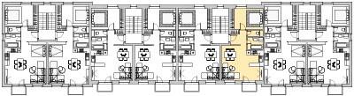Pôdory poschodia č. 4 s vyznačením bytom 406