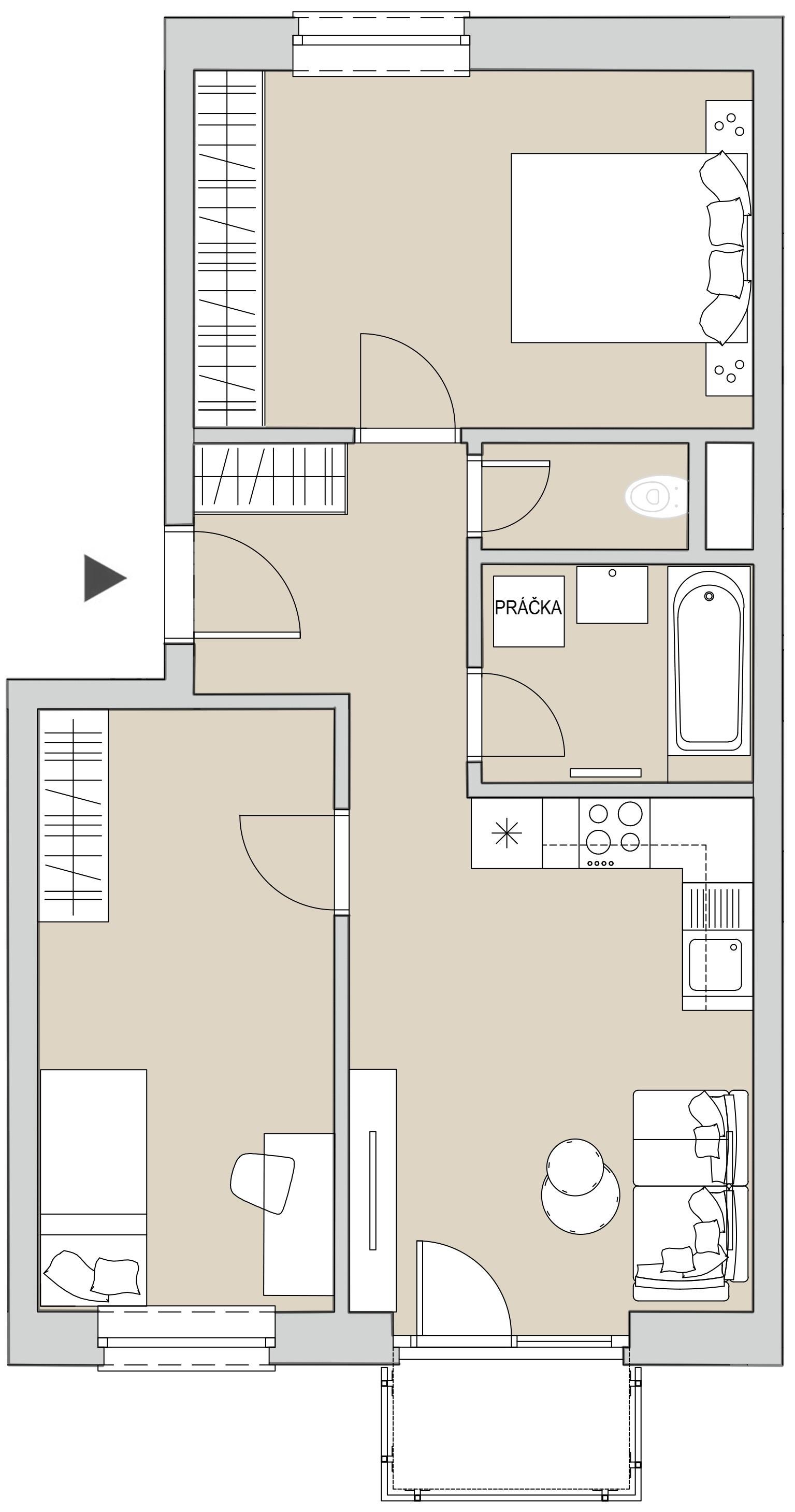 Pôdory bytu - 304 - varianta 3 - izbový