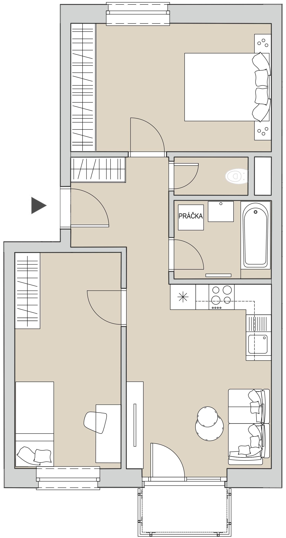 Pôdory bytu - 405 - varianta 3 - izbový