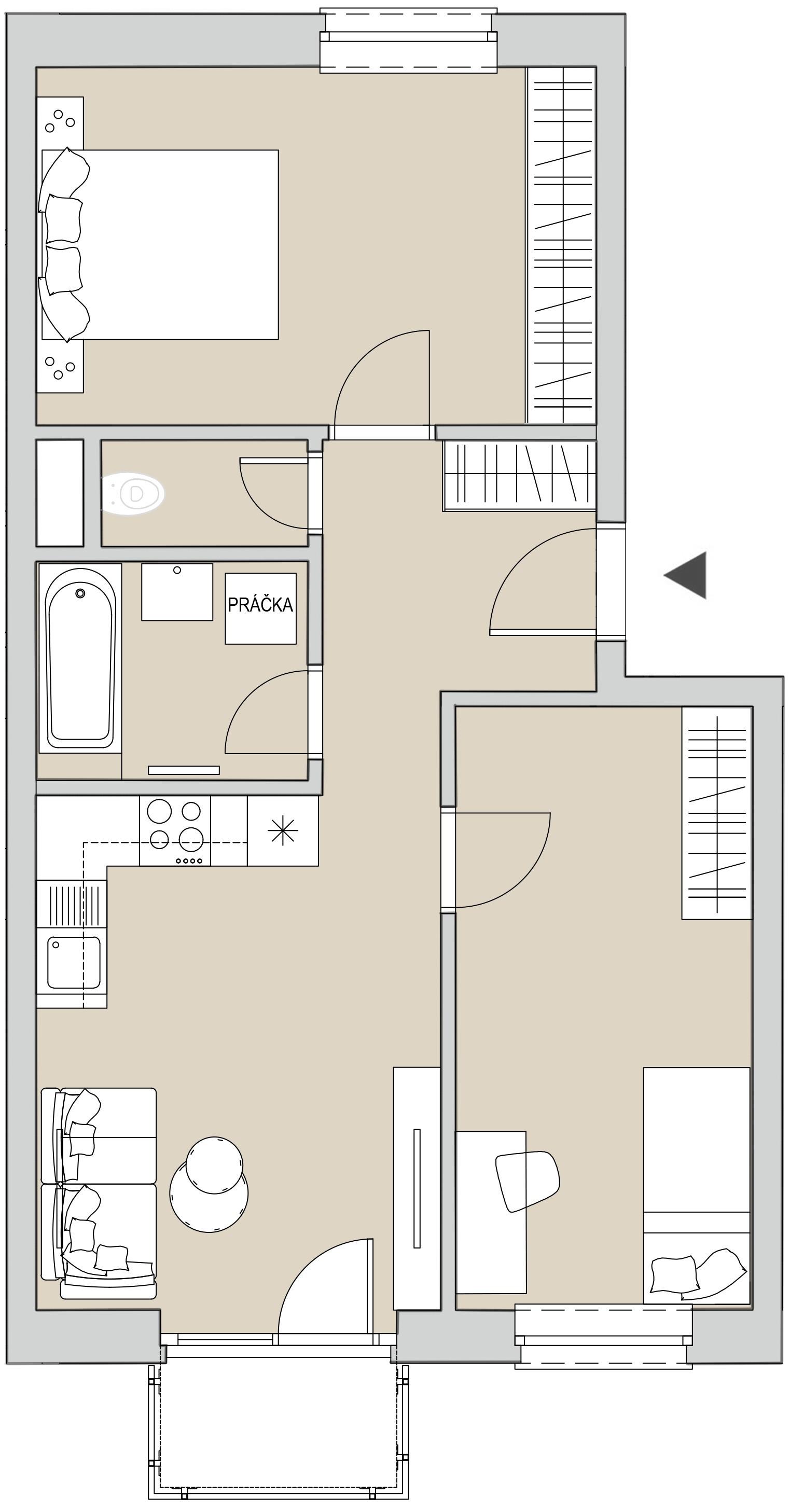 Pôdory bytu - 203 - varianta 3 - izbový