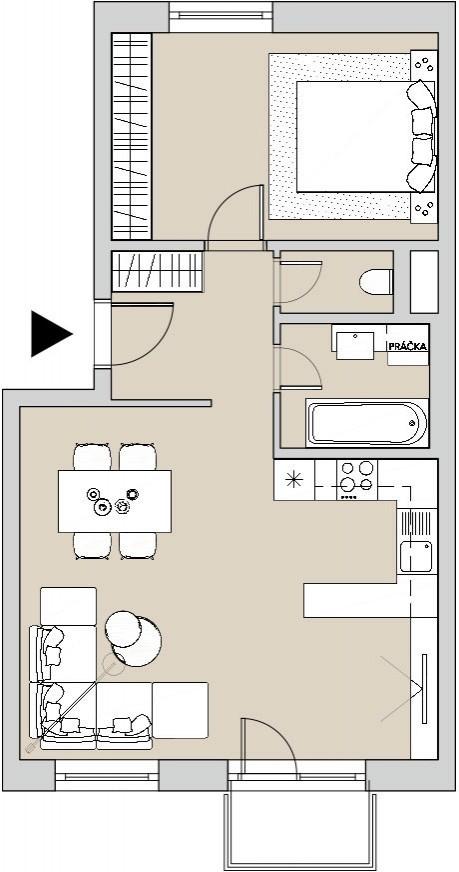 Pôdory bytu - 206 - varianta 2 - izbový