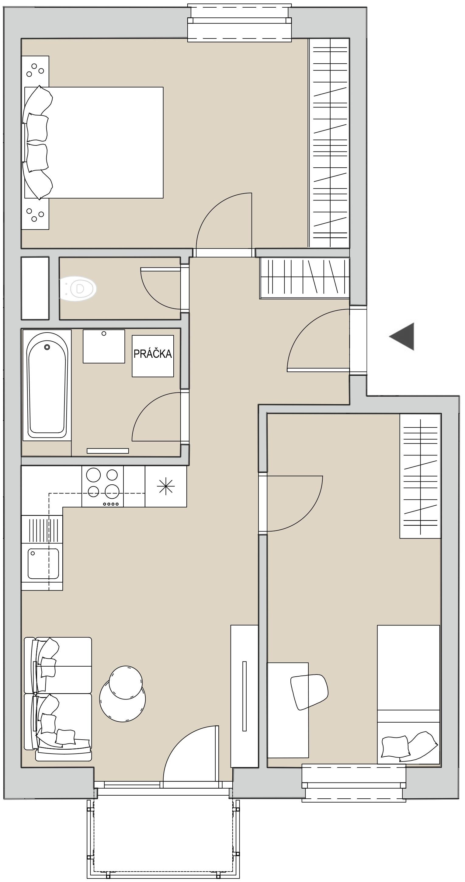 Pôdory bytu - 403 - varianta 3 - izbový