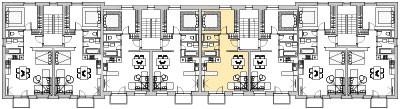 Pôdory poschodia č. 4 s vyznačením bytom 405