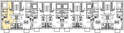 Pôdory poschodia č. 3 s vyznačením bytom 301